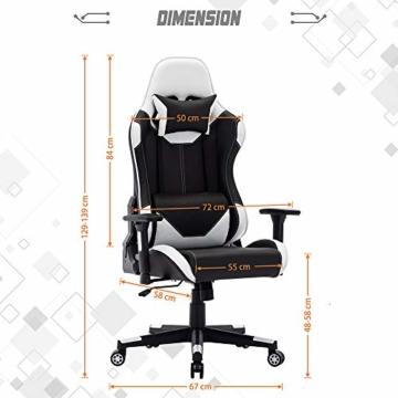 SHA XiaZhi Racing Style Gaming-Stuhl, PU-Leder, hohe Rückenlehne, Bürostuhl, ergonomisches Design mit verstellbarer Armlehne und Lendenwirbelstütze - 7