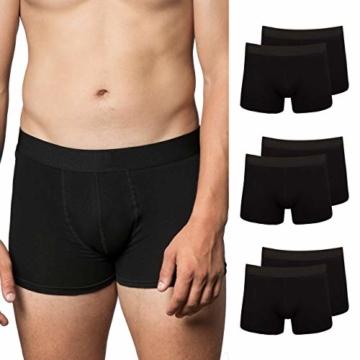 Snocks Boxershorts Herren ohne Logo (6X) Unterhosen Männer (6X Schwarz, Large) - 1
