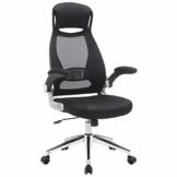 SONGMICS Bürostuhl, Drehstuhl, Chefsessel, Bürodrehstuhl mit Kopfstütze, klappbare Armlehnen, Wippfunktion, Schwarz OBN86BK - 1