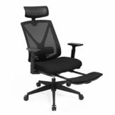 SONGMICS Ergonomischer Bürostuhl mit Fußstütze, Schreibtischstuhl mit Lordosenstütze, verstellbare Kopfstütze und Armstütze, Höhenverstellung und Wippfunktion, bis 150 kg Belastbar, schwarz OBN61BKV1 - 1
