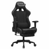 SONGMICS Gaming Stuhl mit Fußstütze, 150 kg, Bürostuhl, Schreibtischstuhl, Lendenkissen, Kopfkissen, hohe Rückenlehne, ergonomisch, Stahl, Kunstleder, atmungsaktives Meshgewebe, schwarz RCG52BK - 1