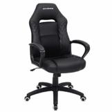 SONGMICS Gamingstuhl, Bürostuhl mit Wippfunktion, Racing Chair, ergonomisch, S-förmige Rückenlehne, gut für die Lendenwirbelsäule, bis 150 kg belastbar, Kunstleder, schwarz OBG38BK - 1