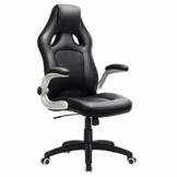 SONGMICS Racing Stuhl Bürostuhl Gaming Stuhl Chefsessel Drehstuhl PU, schwarz, OBG62B - 1