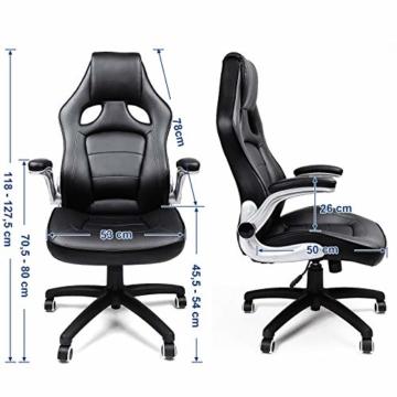 SONGMICS Racing Stuhl Bürostuhl Gaming Stuhl Chefsessel Drehstuhl PU, schwarz, OBG62B - 5