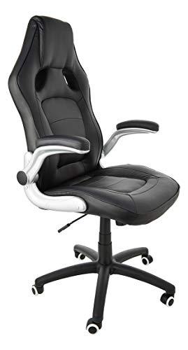 SONGMICS Racing Stuhl Bürostuhl Gaming Stuhl Chefsessel Drehstuhl PU, schwarz, OBG62B - 7