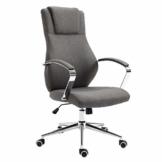 SVITA Bürostuhl Drehstuhl hochwertig verchromt Armlehnen Höhenverstellung Racing-Stuhl Chefsessel (Dunkelgrau, Stoff) - 1