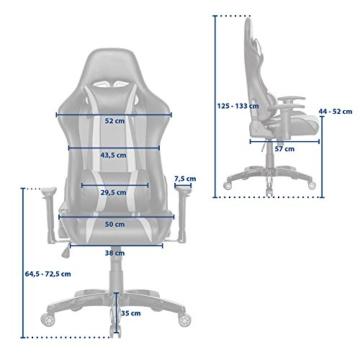 SVITA Gaming Stuhl Schreibtischstuhl Bürostuhl Drehstuhl Schreibtisch (Rot) - 7