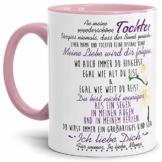Tasse mit Spruch von der Mama für die Tochter - Kaffeetasse/Familie/Geschenk-Idee/Mug/Cup/Innen & Henkel Rosa - 1