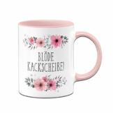 Tassenbrennerei Tasse mit Spruch Blöde Kackscheiße blumig - Kaffeetasse lustig - Spülmaschinenfest (Rosa) - 1