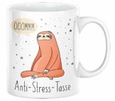 TassenSachen Bürotasse Faultier Spruch - Ooommm Anti-Stress-Tasse - lustige Kaffeetasse Teetasse aus Keramik in Weiß - ca. 330 ml spülmaschinengeeignet - Geschenk Geburtstag Homeoffice - 1