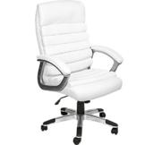 TecTake 800337 Design Bürostuhl Chefsessel mit gepolsterten Armlehnen und Wippmechanik, Softpolsterung - Diverse Farben - (Weiß - 402151) - 1