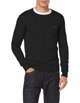 TOM TAILOR Herren Basic Rundhalspullover' Pullover, Black Grey Melange, L EU - 1