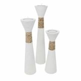 Trendy Wood & Light Trippel weiß Kerzenhalter Teelicht Dekoartikel Holz Tischdekoration Kerze Kerzenständer (Trippel weiß) - 1