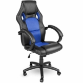 TRESKO Racing Chefsessel Bürostuhl Drehstuhl 14 Farbvarianten, gepolsterte Armlehnen, Wippmechanik, Lift SGS geprüft (schwarz/blau) - 1