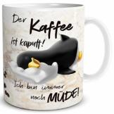 TRIOSK Pinguin Tasse Kaffee Kaputt mit Spruch lustig Coffee Geschenk für Arbeit Büro Frauen Freundin Kollegin Chef Pinguinliebhaber - 1