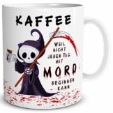 TRIOSK Tasse Kaffee Mord mit Spruch lustig Kaffeeliebe Fun Horror Geschenk für Arbeit Büro Kaffeeliebhaber Kollegen Männer Frauen Freundin Weiß - 1