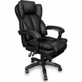Trisens Schreibtischstuhl Bürostuhl Gamingstuhl Racing Chair Chefsessel mit Fußstütze, Farbe:Schwarz - 1