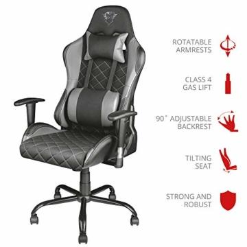 Trust Gaming GXT 707G Resto Gaming Stuhl Bürostuhl (Ergonomisch mit Höhenverstellbare Armlehnen) Grau - 4
