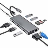 USB C Hub, 11 in 1 Hub Adapter vom Typ C mit 4K HDMI, 1080P VGA, RJ45 Gigabit Ethernet, SD/TF Kartenlesern, USB 3.0/2.0, USB C Stromversorgung, 3,5mm Audio, Compatibel mit MacBook Pro und mehr - 1