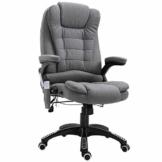 Vinsetto Massage Sessel, Bürostuhl mit Massagefunktion, Gaming Stuhl, höhenverstellbarer Chefsessel, ergonomischer Drehstuhl, PU, Grau, 67 x 67 x 116-126 cm - 1