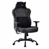VON RACER Großer Memory Foam Gaming Stuhl - Verstellbares Massage Lendenkissen Ergonomischer Büro-Schreibtischstuhl Höhenverstellbarer Drehstuhl mit Wippfunktion,Schwarz - 1