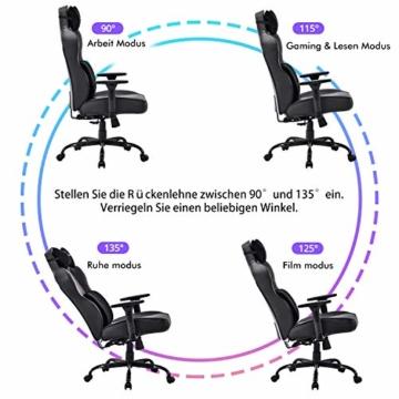 VON RACER Großer Memory Foam Gaming Stuhl - Verstellbares Massage Lendenkissen Ergonomischer Büro-Schreibtischstuhl Höhenverstellbarer Drehstuhl mit Wippfunktion,Schwarz - 3
