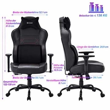 VON RACER Großer Memory Foam Gaming Stuhl - Verstellbares Massage Lendenkissen Ergonomischer Büro-Schreibtischstuhl Höhenverstellbarer Drehstuhl mit Wippfunktion,Schwarz - 4