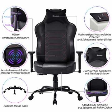 VON RACER Großer Memory Foam Gaming Stuhl - Verstellbares Massage Lendenkissen Ergonomischer Büro-Schreibtischstuhl Höhenverstellbarer Drehstuhl mit Wippfunktion,Schwarz - 5