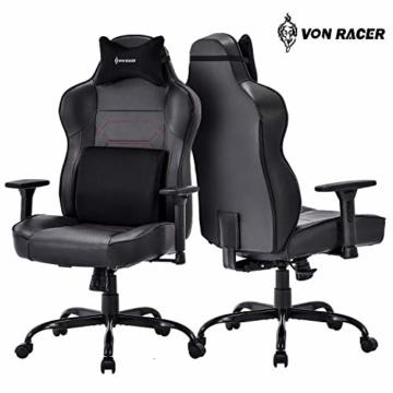 VON RACER Großer Memory Foam Gaming Stuhl - Verstellbares Massage Lendenkissen Ergonomischer Büro-Schreibtischstuhl Höhenverstellbarer Drehstuhl mit Wippfunktion,Schwarz - 6