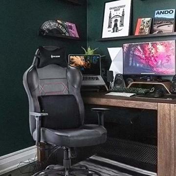 VON RACER Großer Memory Foam Gaming Stuhl - Verstellbares Massage Lendenkissen Ergonomischer Büro-Schreibtischstuhl Höhenverstellbarer Drehstuhl mit Wippfunktion,Schwarz - 7