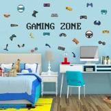 Wandtattoo Gamer | Wandsticker für Junge Schlafzimmer | Gamer mit Gaming Zone Wand Aufkleber, Spieler mit Controller - Aufkleber Wandtattoo, für Schlafzimmer Home Playroom Hintergrund Deko - 1