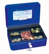 Wedo 145303H Geldkassette (aus pulverbeschichtetem Stahl, versenkbarer Griff, Geldnoten- und Belegeklammer, 5-Fächer-Münzeinsatz, Sicherheits-Zylinderschloss, 25 x 18 x 9 cm) blau - 1