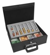 Wedo 150100801 Geldzählkassette Universa (aus Stahlblech, für Hart- und Papiergeld, mit zwei Tragegriffen und 4-Fächereinsatz für Geldscheine, 35,5 x 27,5 x 10 cm) schwarz - 1