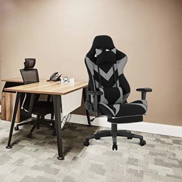 WOLTU® Racing Stuhl BS21gr Gaming Stuhl Bürostuhl Schreibtischstuhl Sportsitz mit Kopfstütze und Lendenkissen, Armlehne verstellbar, mit Fußstütze, Stoffbezug, höhenverstellbar, Grau - 2