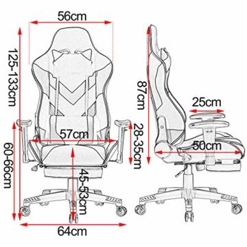 WOLTU® Racing Stuhl BS21gr Gaming Stuhl Bürostuhl Schreibtischstuhl Sportsitz mit Kopfstütze und Lendenkissen, Armlehne verstellbar, mit Fußstütze, Stoffbezug, höhenverstellbar, Grau - 3