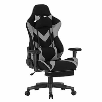 WOLTU® Racing Stuhl BS21gr Gaming Stuhl Bürostuhl Schreibtischstuhl Sportsitz mit Kopfstütze und Lendenkissen, Armlehne verstellbar, mit Fußstütze, Stoffbezug, höhenverstellbar, Grau - 1