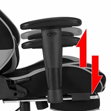 WOLTU® Racing Stuhl BS21gr Gaming Stuhl Bürostuhl Schreibtischstuhl Sportsitz mit Kopfstütze und Lendenkissen, Armlehne verstellbar, mit Fußstütze, Stoffbezug, höhenverstellbar, Grau - 5