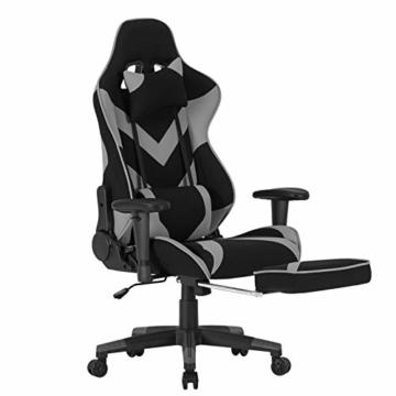 WOLTU® Racing Stuhl BS21gr Gaming Stuhl Bürostuhl Schreibtischstuhl Sportsitz mit Kopfstütze und Lendenkissen, Armlehne verstellbar, mit Fußstütze, Stoffbezug, höhenverstellbar, Grau - 6