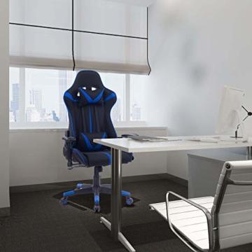WOLTU® Racing Stuhl Gaming Stuhl Bürostuhl Schreibtischstuhl Sportsitz mit Armlehne, mit Kopfstütze und Lendenkissen, höhenverstellbar, dick gepolsterte Sitzfläche aus Stoffbezug, Blau, BS38bl - 2