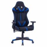 WOLTU® Racing Stuhl Gaming Stuhl Bürostuhl Schreibtischstuhl Sportsitz mit Armlehne, mit Kopfstütze und Lendenkissen, höhenverstellbar, dick gepolsterte Sitzfläche aus Stoffbezug, Blau, BS38bl - 1