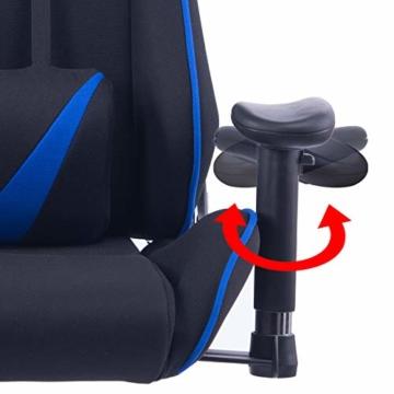 WOLTU® Racing Stuhl Gaming Stuhl Bürostuhl Schreibtischstuhl Sportsitz mit Armlehne, mit Kopfstütze und Lendenkissen, höhenverstellbar, dick gepolsterte Sitzfläche aus Stoffbezug, Blau, BS38bl - 3