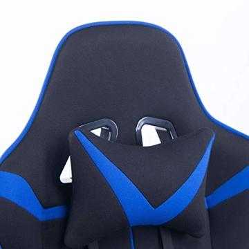 WOLTU® Racing Stuhl Gaming Stuhl Bürostuhl Schreibtischstuhl Sportsitz mit Armlehne, mit Kopfstütze und Lendenkissen, höhenverstellbar, dick gepolsterte Sitzfläche aus Stoffbezug, Blau, BS38bl - 5