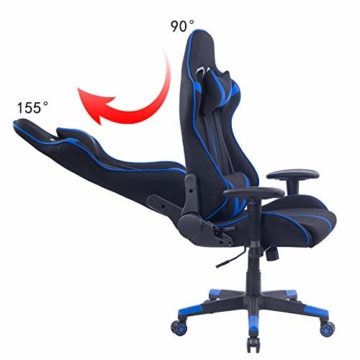 WOLTU® Racing Stuhl Gaming Stuhl Bürostuhl Schreibtischstuhl Sportsitz mit Armlehne, mit Kopfstütze und Lendenkissen, höhenverstellbar, dick gepolsterte Sitzfläche aus Stoffbezug, Blau, BS38bl - 6