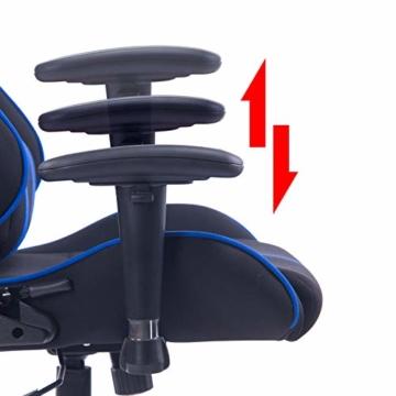 WOLTU® Racing Stuhl Gaming Stuhl Bürostuhl Schreibtischstuhl Sportsitz mit Armlehne, mit Kopfstütze und Lendenkissen, höhenverstellbar, dick gepolsterte Sitzfläche aus Stoffbezug, Blau, BS38bl - 7
