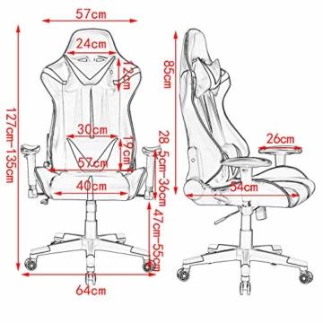 WOLTU® Racing Stuhl Gaming Stuhl Bürostuhl Schreibtischstuhl Sportsitz mit Armlehne, mit Kopfstütze und Lendenkissen, höhenverstellbar, dick gepolsterte Sitzfläche aus Stoffbezug, Blau, BS38bl - 8