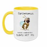 Yoner Tasse Hund Biene Optimismus heisst umgekehrt Sumsi mit Po Tasse Geschenktasse Liebhaber Freundgeschenk Tolles Geschenk für Frau oder Mann Arbeitskollegin - 1