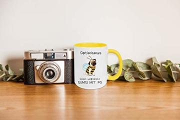 Yoner Tasse Hund Biene Optimismus heisst umgekehrt Sumsi mit Po Tasse Geschenktasse Liebhaber Freundgeschenk Tolles Geschenk für Frau oder Mann Arbeitskollegin - 3