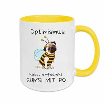 Yoner Tasse Hund Biene Optimismus heisst umgekehrt Sumsi mit Po Tasse Geschenktasse Liebhaber Freundgeschenk Tolles Geschenk für Frau oder Mann Arbeitskollegin - 4