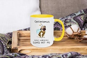 Yoner Tasse Hund Biene Optimismus heisst umgekehrt Sumsi mit Po Tasse Geschenktasse Liebhaber Freundgeschenk Tolles Geschenk für Frau oder Mann Arbeitskollegin - 5