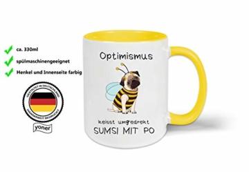 Yoner Tasse Hund Biene Optimismus heisst umgekehrt Sumsi mit Po Tasse Geschenktasse Liebhaber Freundgeschenk Tolles Geschenk für Frau oder Mann Arbeitskollegin - 6